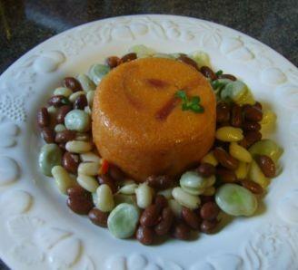 Polenta Tart with Bean Salad