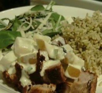 Pork with creamy pear sauce
