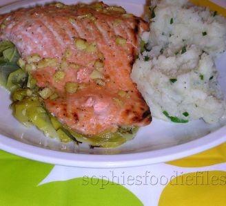 marinated salmon on leeks