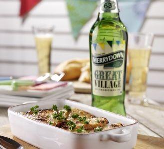 Seafood pie & Merrydown cider
