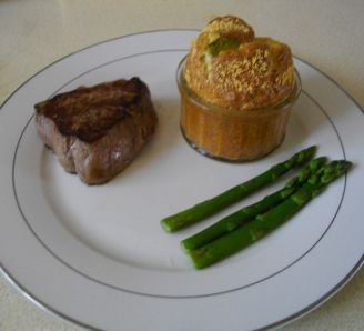 Beef with a Stilton Souffle