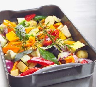 Roasted vegetables and herbs
